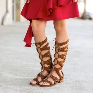 Joyfolie brown leather gladiators with laces